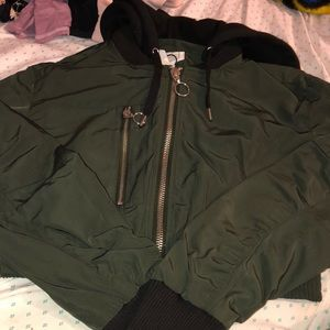 Green Cropped Bomber Jacket